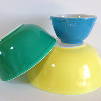 Pyrex Primary Color Mixing Bowl Trio # 401 403 404 Primary Color Nesting Bowls Blue Green Yellow