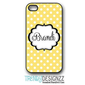 Personalized iPhone4 case,Samsung S3 S4, iPhone 4s case, iPhone5 case, iPhone cover, Yellow Black Dots, Personalized Tough Case (1030)