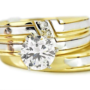 14k Two Tone Gold Engagement Wedding Simulated Diamond Set 3 Piece Set His and Hers