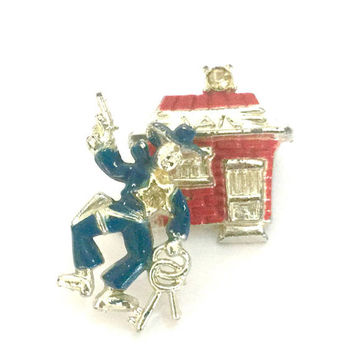 Sheriff Trembler Brooch, Sheriff and Jail House, Blue & Red Enamel, Crystal Accents, Sheriff w/Gun and Keys, Silver Tone, Vintage Figural