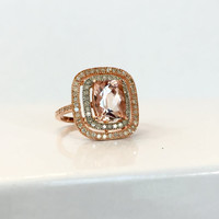 Pink Morganite Diamond Rose Gold Ring 2.70 CT Gemstone Cocktail Ring Birthday Gift for Her Anniversary Gift Estate Jewelry Sterling Silver 7