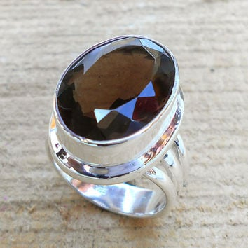 Designer Smoky Ring, Smoky Quartz Ring, Fine Silver Ring, Sterling Silver Ring, Bezel Ring, Gift Wear Ring