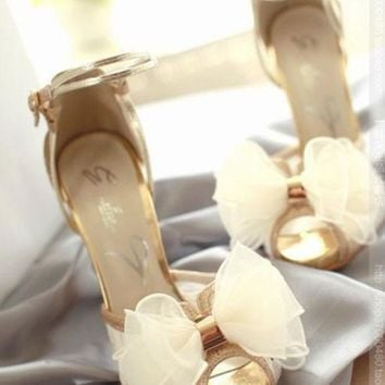VONE056 Fish mouth fashion lace wedding shoes