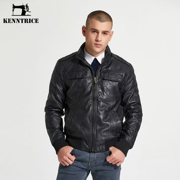 Male Leather Jacket Multi-Packets Causal Black Leather Pilot Jacket Men Moto Leather Jacket