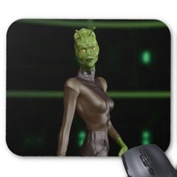 Green Reptilian Female Alien Mousepad