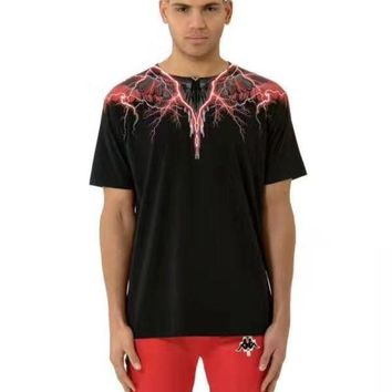 DCCK1V7 MARCELO BURLON COUNTY OF MILAN Lightning wings feather print round neck short-sleeved T-shirt