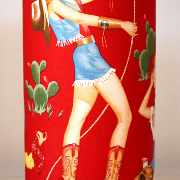 red retro pinup cowgirl lamps