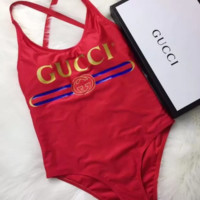 Red GUCCI Bathing Suits One Piece Bikini Swimsuit Bodysuit
