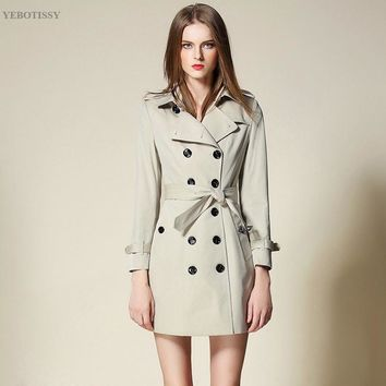 cotton coat women fabric winter Long Sleeve autumn Casual trench coat beige color Female Overcoat High Quality Casual outwear