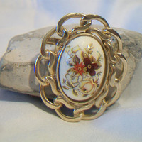 Floral Chain Framed Brooch Pin Cameo Flower Costume Jewelry Fashion Accessories For Her