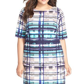 Plus Size Women's Eliza J Print Elbow Sleeve Shift Dress,