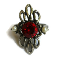 Vintage Faux Ruby And Pearl Ring In Silver Tone Abstract Ring Mid Century Ring Cocktail Ring