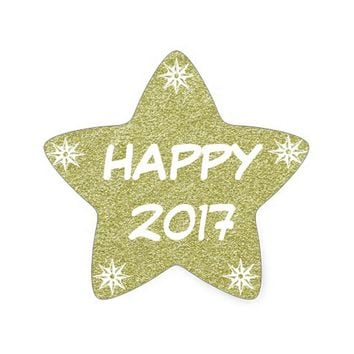 Happy 2017, Happy New Year Gold Glitter Sticker