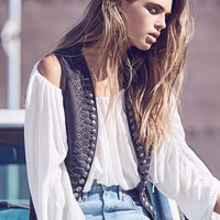 Free People Shrunken Military Vest