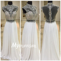 Ivory Chiffon Beaded Gown ,  High Neck Sheer Back Prom Dress