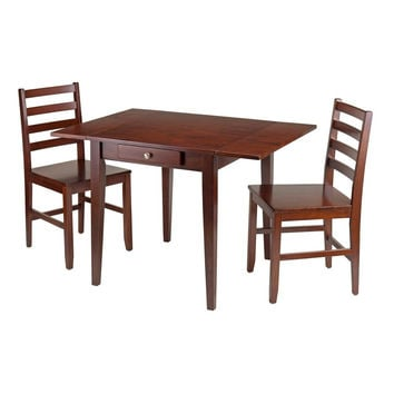 Hamilton 3-Pc Drop Leaf Dining Table with 2 Ladder Back Chairs