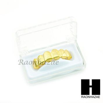 NEW CUSTOM 14K GOLD PLATED TEETH GRILLZ CAP TOP FANGS HIP HOP TEETH GRILLZ