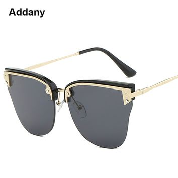 Addany Sexy Rimless Oversized Sweet Cat eye Sunglasses Women Brand Metal Sun Glasses For Female vintage Oculos De Sol Feminino