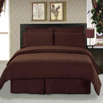 Solid Chocolate 8-Piece Bedding Set Super Soft Microfiber Sheets+Duvet+Alternative