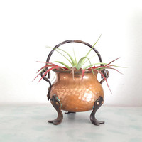 Vintage Hammered Copper Pot, Made in Germany Copper Cauldron      Succulent Planter, Copper Pot with Handle, Airplant Display, Halloween