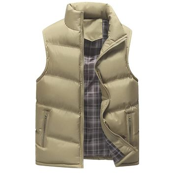 Mens Khaki Zip Up Winter Puffer Vest