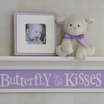 "Purple Nursery, Butterfly Kisses - Sign 24"" Linen (Off White) Shelf, Lavender Children Wall Art Nursery Decor, Light Amethyst Baby Girl Gift"