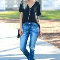Distressed Skinny Denim Dark