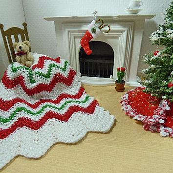 Christmas Afghan, Scale Dollhouse Miniatures, Holiday Blanket, Chevron Blanket, Ripple Blanket, Dolls House, Crochet Blanket, Artisan Decor