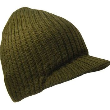 ICIK2JE Olive Green College Style Campus Jeep Visor Beanie Winter Knit Ski Cap Caps Hat