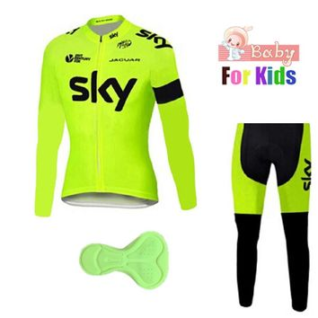 Boys Team Pro Cycling Jersey Children's Long Sleeve Shirt Ropa Ciclismo Quick Dry Bicycle Mountain Cross Country Set Kids