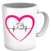 My heart beats for Pit Bulls - heart mug