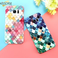 KISSCASE 3D Fish Scales Case For Samsung Galaxy S8 s8 Plus S7 s6 Edge A5 A3 2017 Case Matte Luminous Cover For iPhone 6 6s 7 5S