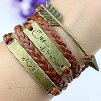 Brown bronze arrow infinite one direction bracelet - JOY bracelet, the best friendship gifts, Christmas gifts