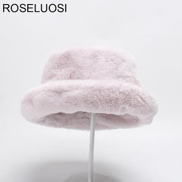Women Winter Fur Hats Thick Warm Bucket Hats Casual Solid Color Flat Top Fur Cap Feminios Gorras