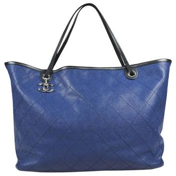 """Chanel Blue Pebbled Leather Black Trim Quilted """"Shopping Fever"""" Tote Bag"""