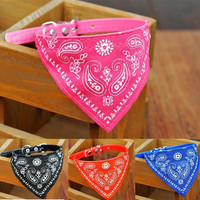 deals]  Adjustable Pet Dog Puppy Cat Triangle Neck Scarf Bandana PU Collar Neckerchief = 5988056129