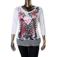 Style & Co. Womens Plus Cotton Embellished Pullover Top