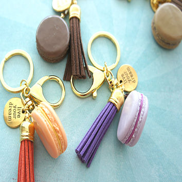 french macaron keychain and bag charm