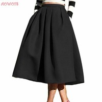 AOWOFS New Female Fashion Street Style Women's Skirt Solid Casual Flare High Waist Pleated Pockets Vintage Midi Skirts