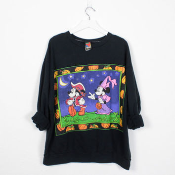 Vintage 90s Mickey Mouse Sweatshirt Black Halloween Novelty Print Minnie Mouse Sweatshirt 1990s Jumper Tshirt Disney XL Extra Large XXL 3XL