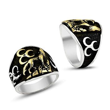 Wolf with 3 crescents sterling silver ring