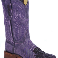 Purple Sanded Caiman Saddle Comfort Boot: Lagrange Leather