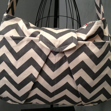 Large Hobo Diaper Bag  Grey Chevron Print by onesweetworldtreats