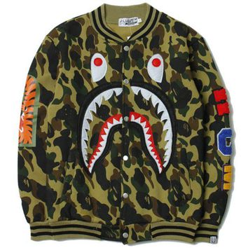 DCCKB62 BAPE SHARK Women/Men Fashion Long Sleeve Camouflage  Sweater Sweatshirt Coat