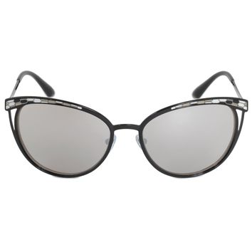 Bvlgari Cat Eye Sunglasses BV6083 239 6G 56 | Black Metal Frame | Light Gray Mirror Lenses