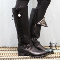 Black boot lacing, boots laces, tall black boot, fall boots,Side lace up leather boot, Sterling, Black tall womens boot   SB1