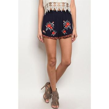 Boho Fave' Black Embroidered Shorts