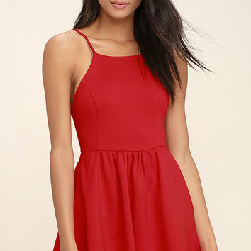 Oui Oui Red Backless Skater Dress