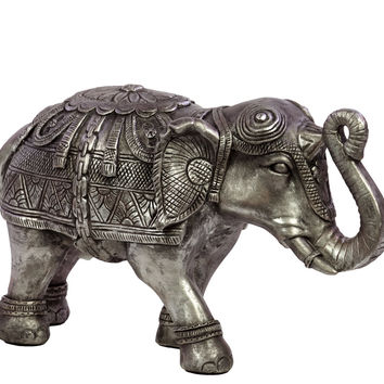 Beautifully Decorated Resin Elephant Figurine In Silver Small