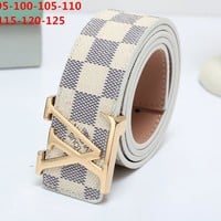 LV tide brand simple men and women models wild fashion smooth buckle belt white check
